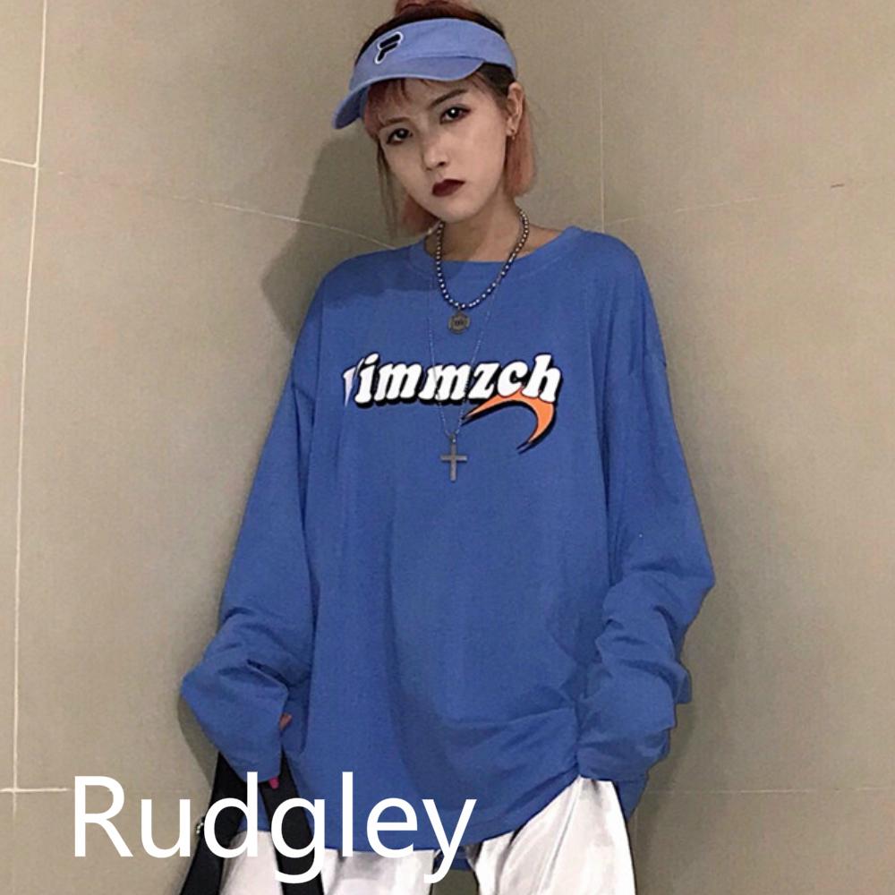 長袖 プリント ルーズトップス ゆるTシャツ