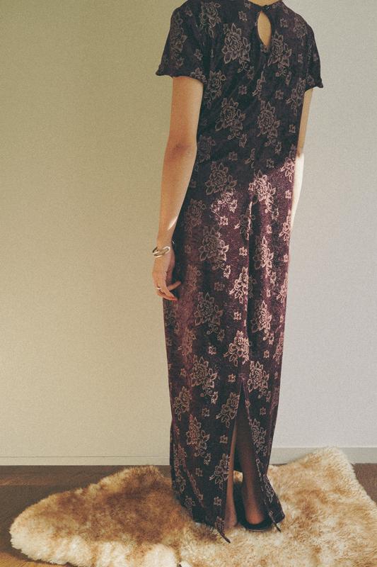 80's burgundy velvet onepiece