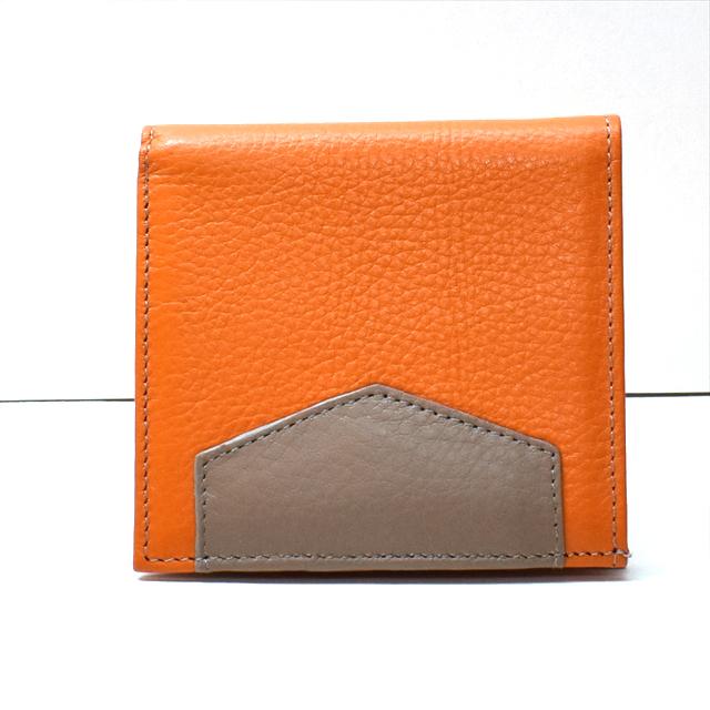 カーフレザー 二つ折財布 オレンジ K-sセレクト