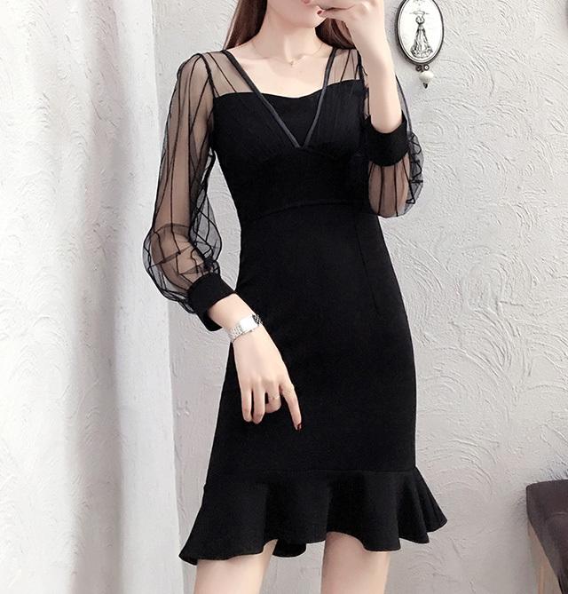 aff47769af809 送料無料 ☆ マーメイド シースルー ストライプ ドレス レディース 大きいサイズ ミニ丈 ブラック 袖あり 長袖