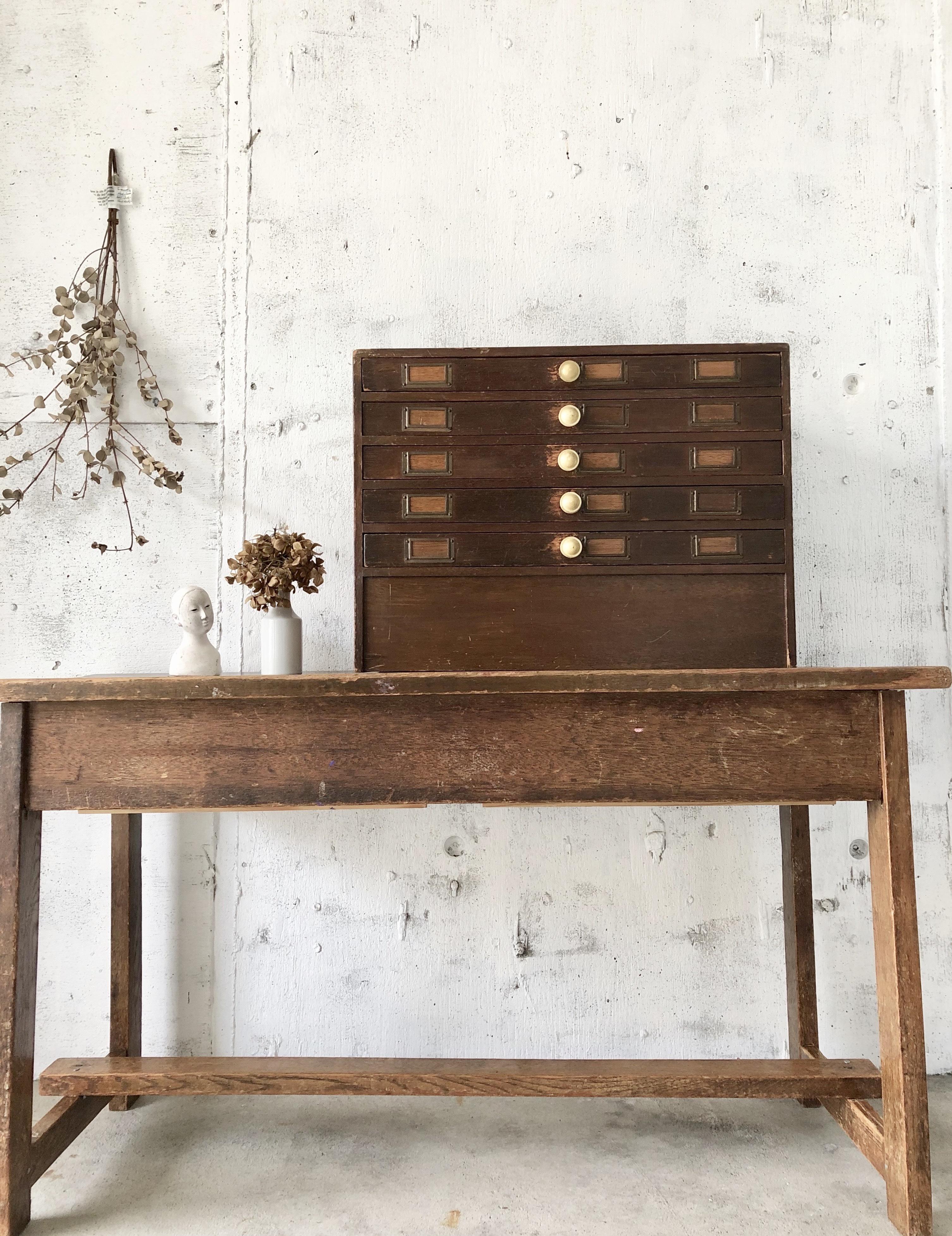木味の収納ケース5段[古家具]