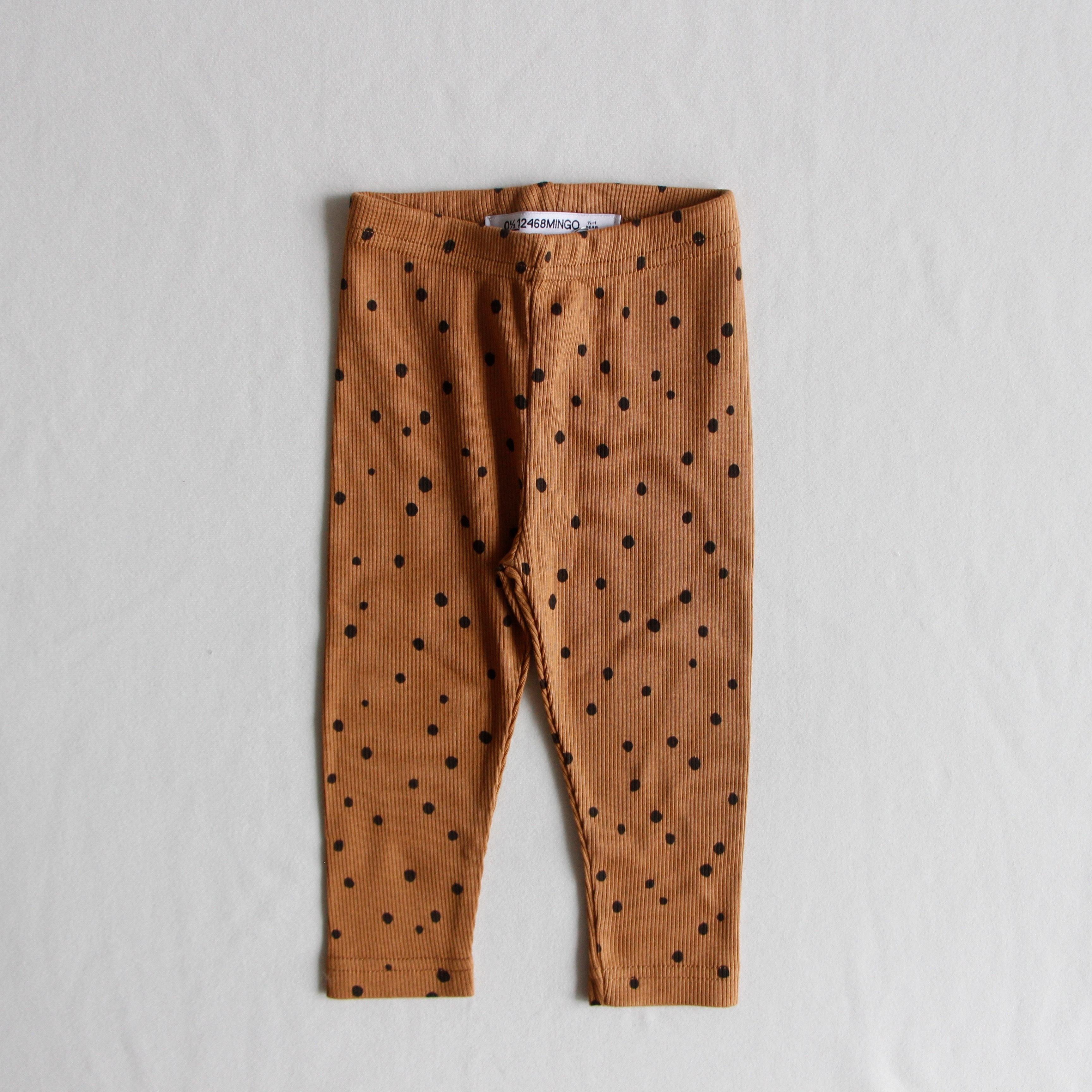 《MINGO. 2020AW》Legging(rib) / Dots Caramel