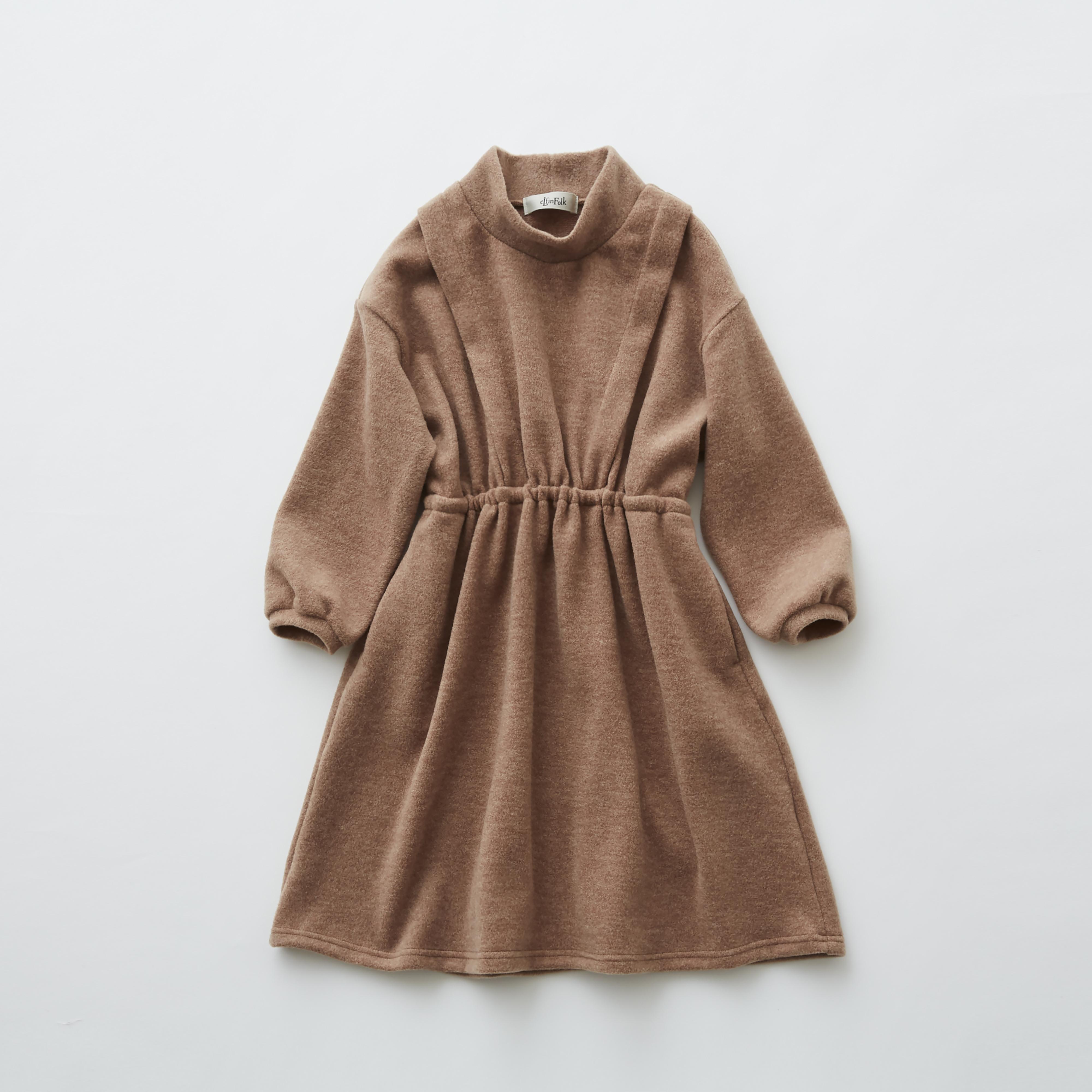 《eLfinFolk 2019AW》melange dress / camel / 80・90・100cm