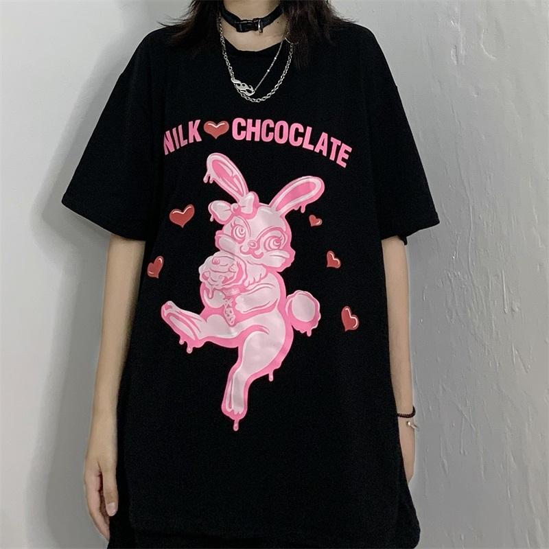 ユニセックス Tシャツ 半袖 メンズ レディース ラウンドネック うさぎ ラビット プリント オーバーサイズ 大きいサイズ ルーズ ストリート