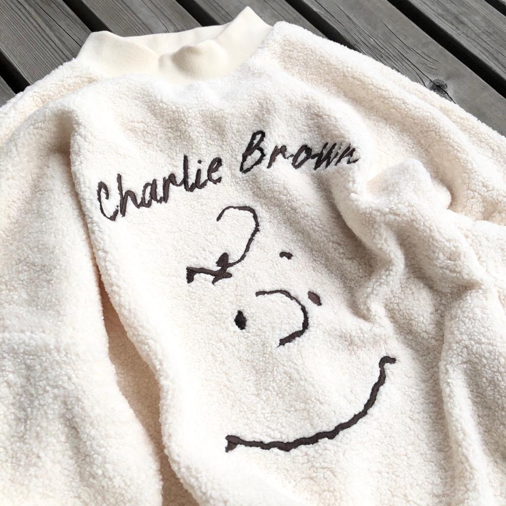 チャーリーブラウンフェイス柄刺繍ボアトレーナー NO0715009