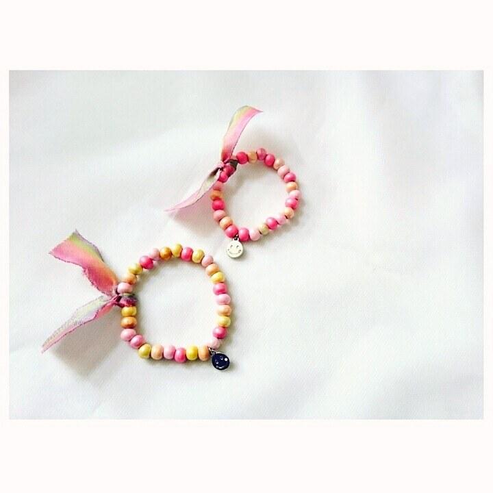 【親子リンクブレスレット】for mama&kids wood beads bracelet