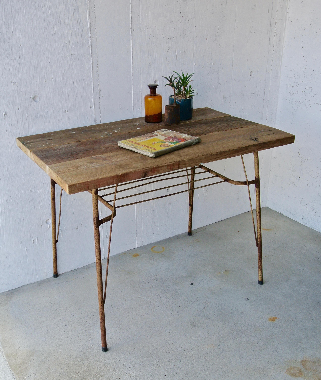 古材板×サビ脚のテーブル[オリジナルリメイク]