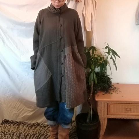★★★石川様専用★★★チェンマイ パッチワークのコクーン風コート グレーブラウン