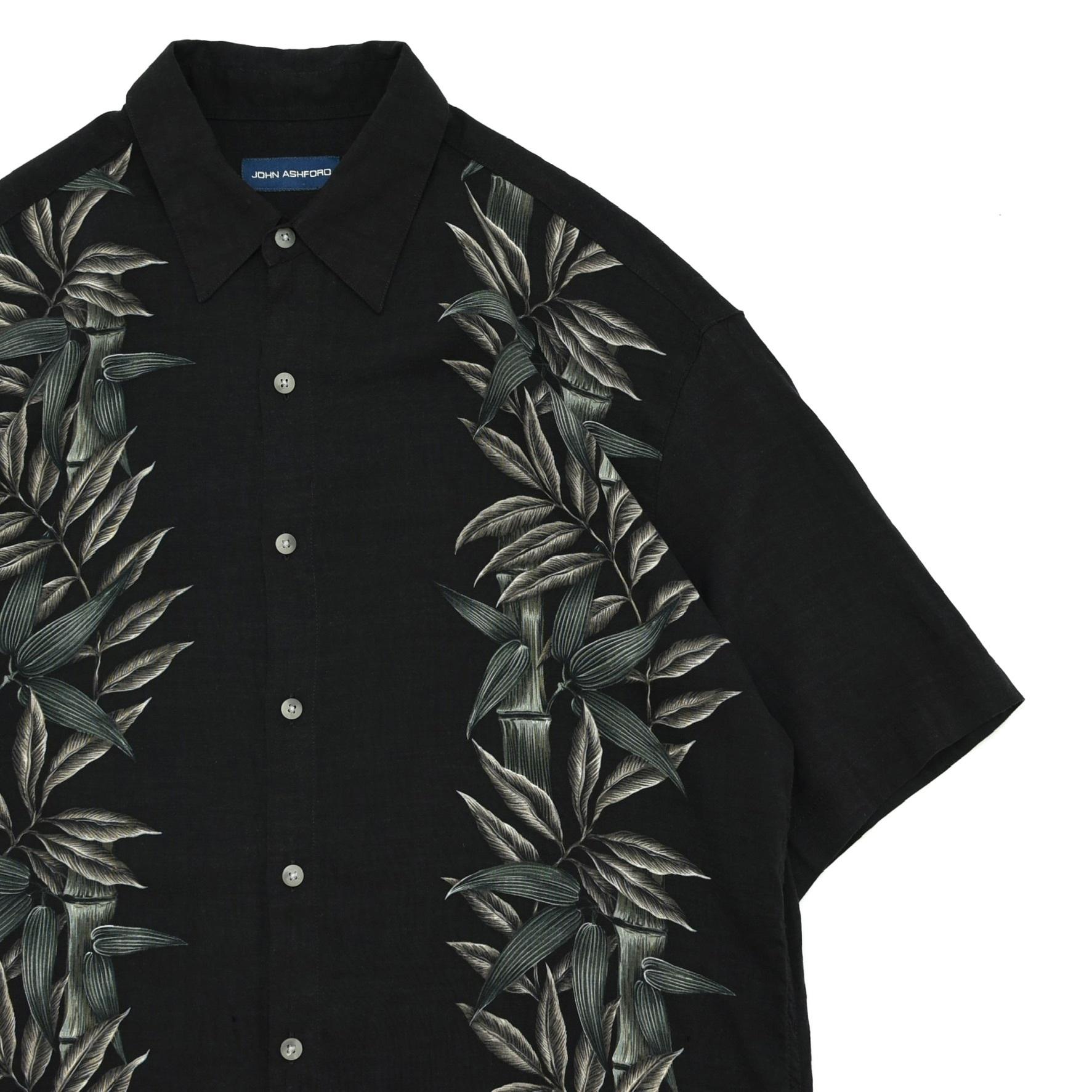 JOHN ASHFORD bamboo border pattern aloha shirt