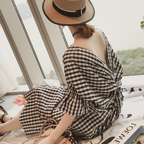 【ワンピース】ファッションチェック柄Vネックスリット23873959
