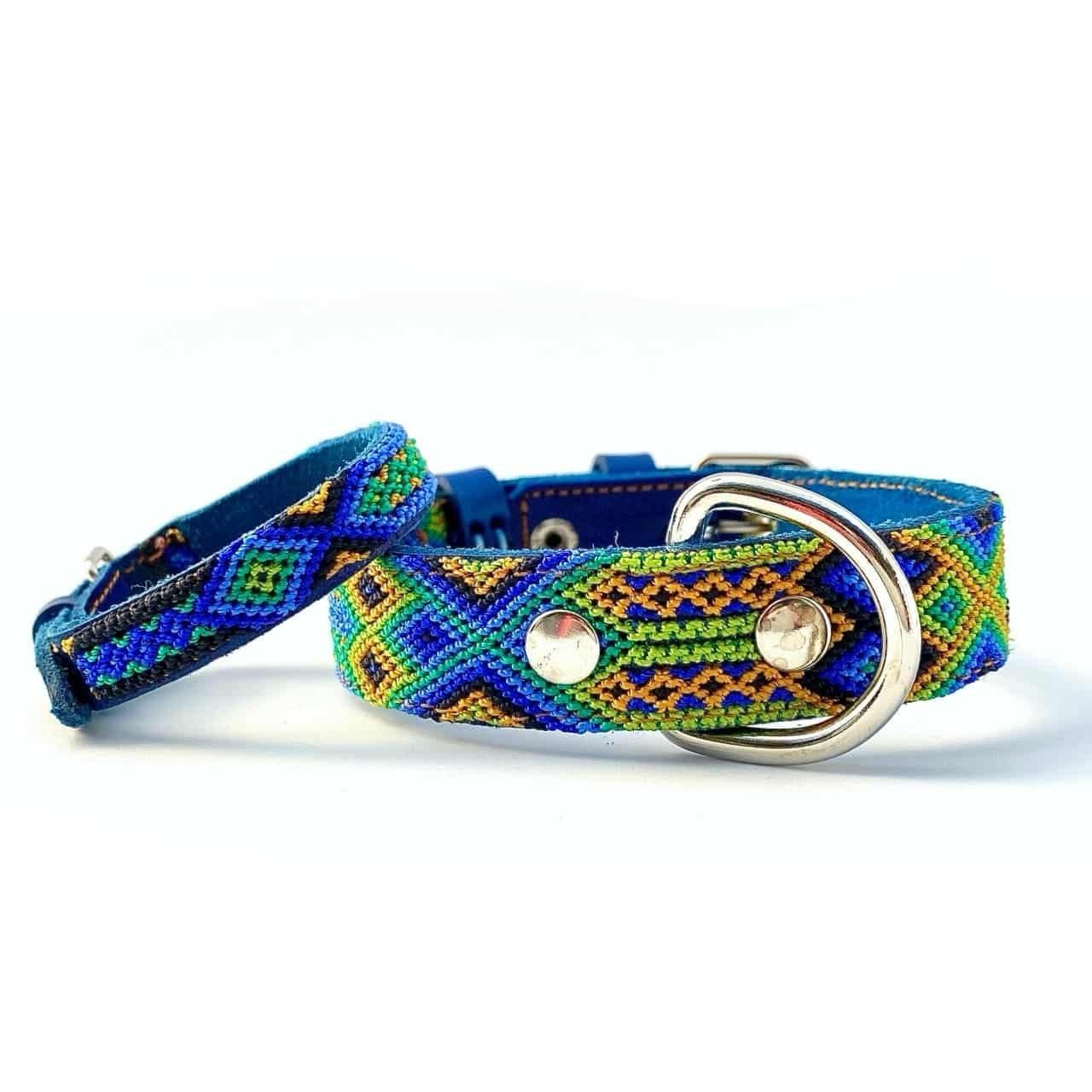 犬の首輪 & 飼い主用ブレスレット付き -サイズS- [ブルー/グリーン]