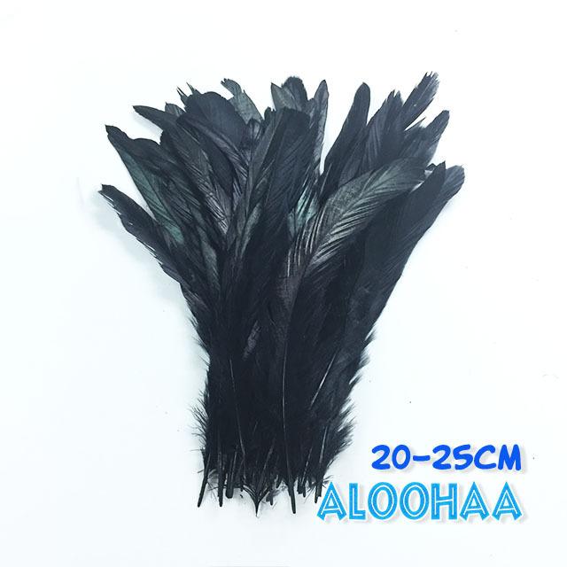 単色ロングフェザー 【ブラック】20-25cm タヒチアン 衣装 材料 ルースターテール 染め 羽根
