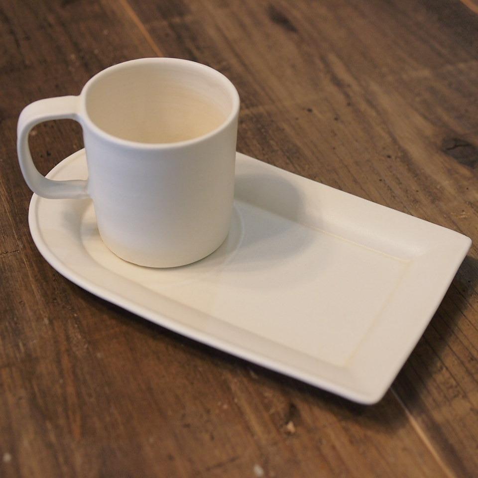 照井壮 乳白釉 カップトレー&ミニマグカップ