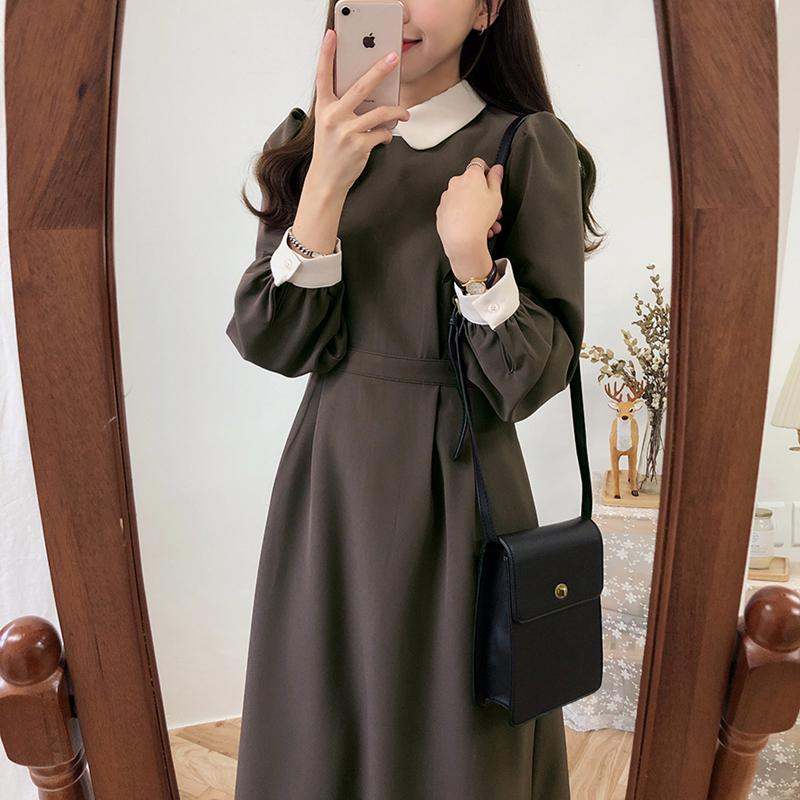 【即納】【送料無料】 大人可愛い レトロコーデ ♡ バイカラー 襟付き ガーリー ロング ワンピース