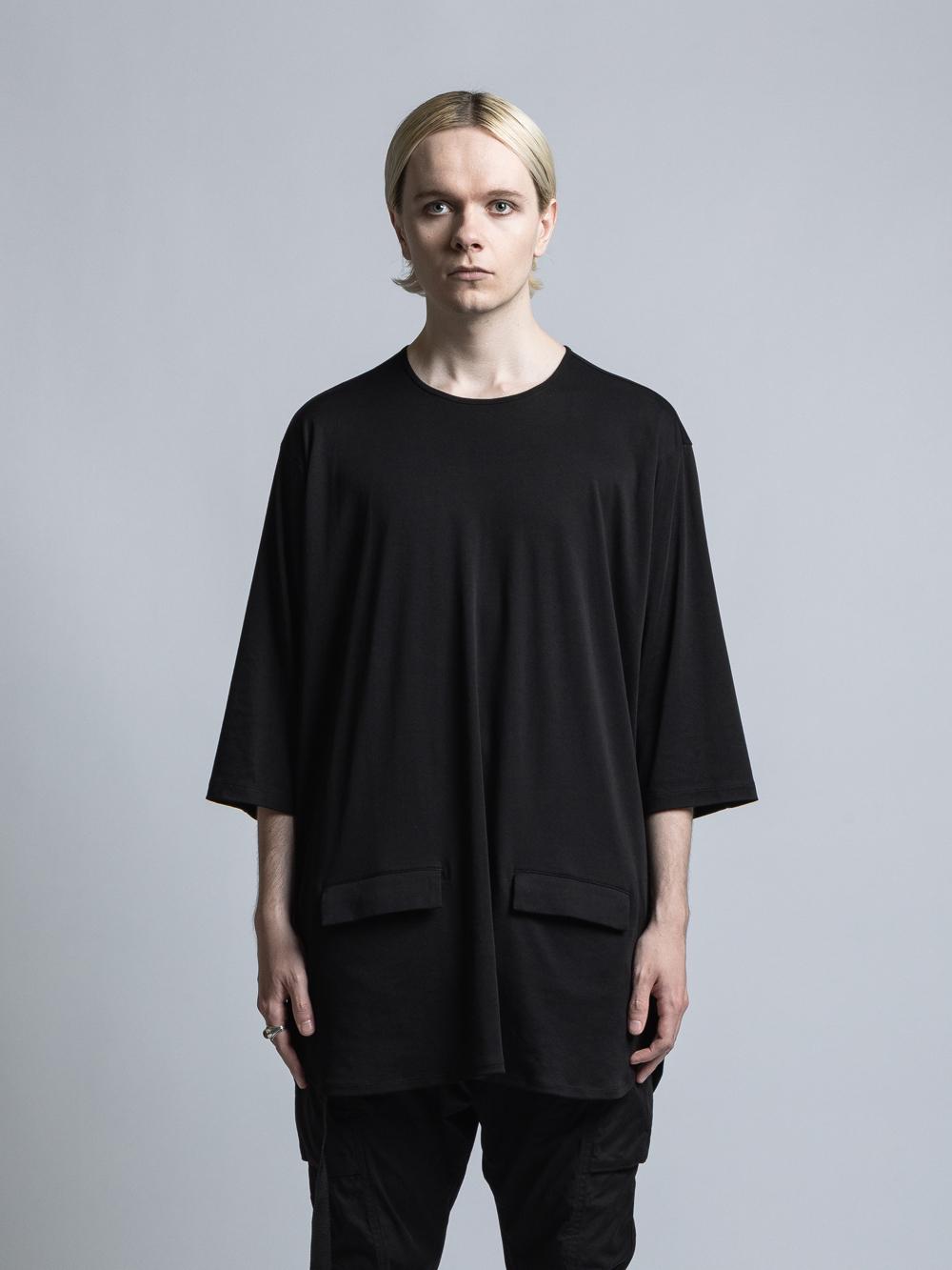 VI-3351-01 / ハイゲージスムース裾ポケット七分袖カットソー