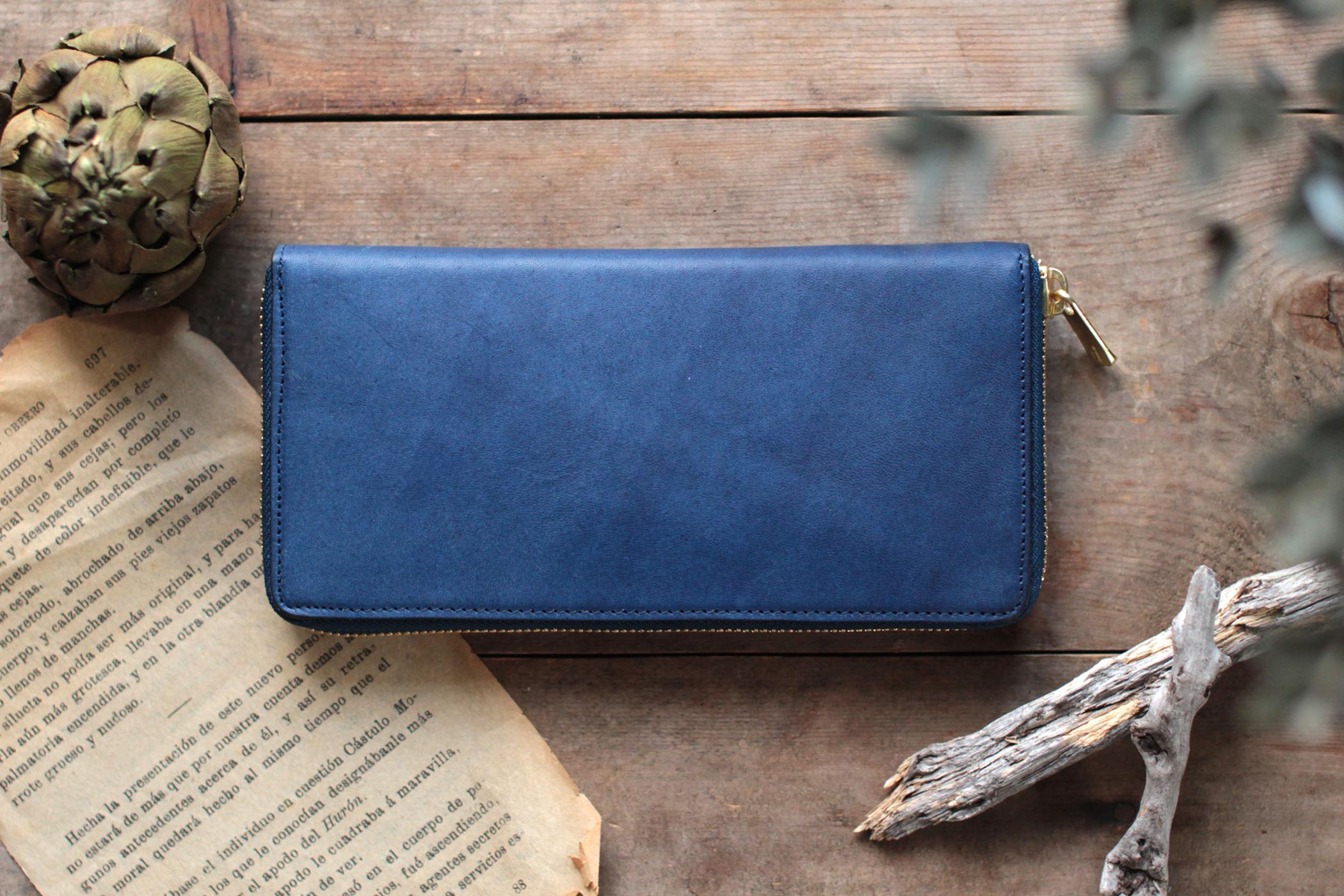 藍染革[bridle] ×オイルレザー ラウンドファスナー長財布