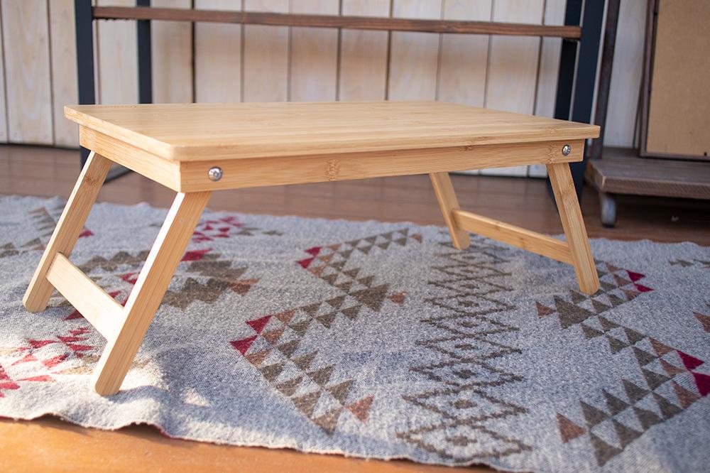 ナチュラルな自然素材の折りたたみローテーブル【アウトドア・キャンプ】