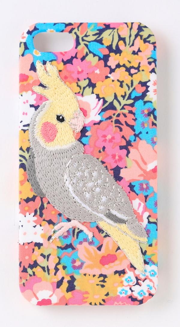【iPhone6/6s専用】刺繍iPhone6/6Sケース オカメインコ【リバティプリント花】