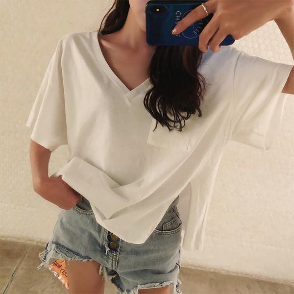 オーバーサイズ サイドスリット Vネック Tシャツ 2色 tk2040