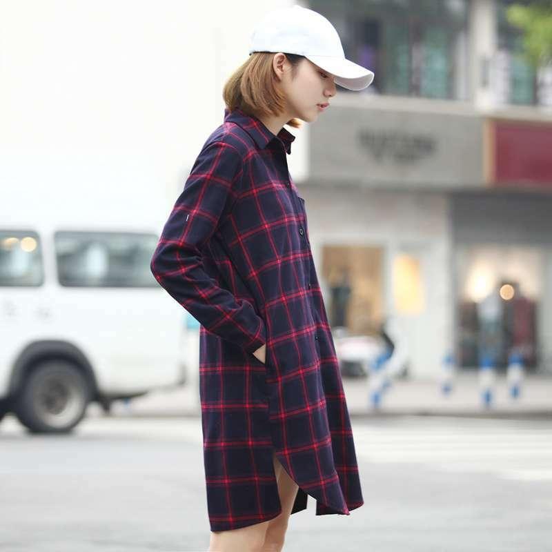 【送料無料】チェック柄 ロングシャツ ミニワンピ B19032901