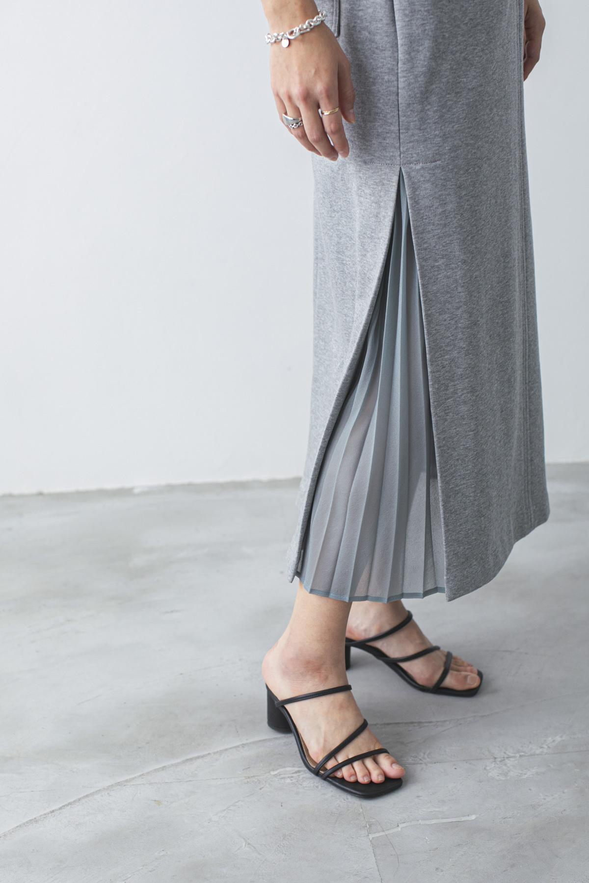 サイドプリーツジャージースカート <ライトグレー>