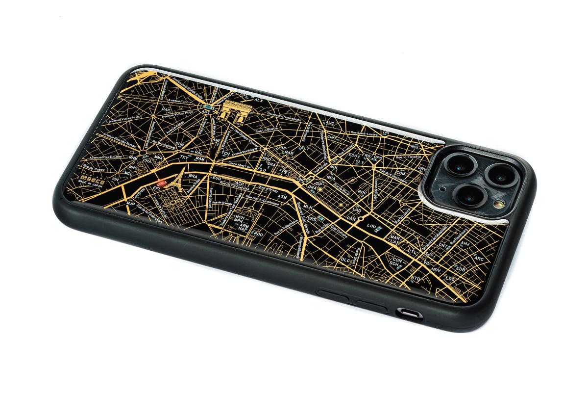 FLASH Paris回路地図 iPhone 11 ProMax ケース  黒【東京回路線図A5クリアファイルをプレゼント】