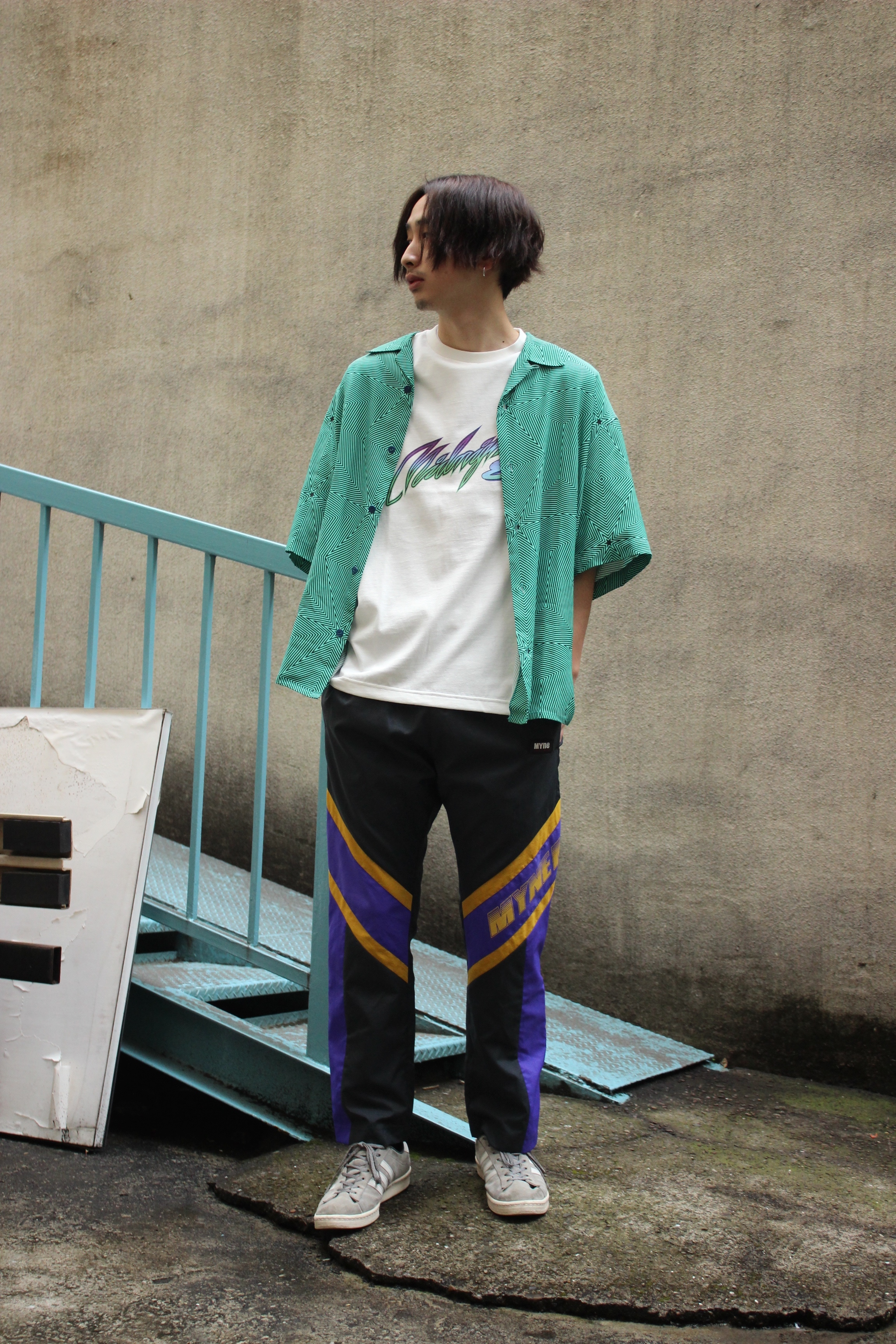 Neon half sleeves shirt / GREEN - 画像2