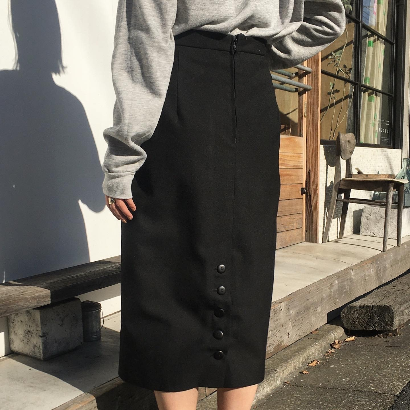 "USED "" Wool Black tight skirt """