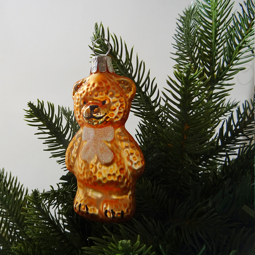 チェコ ガラスのクリスマスオーナメント くま / オレンジ