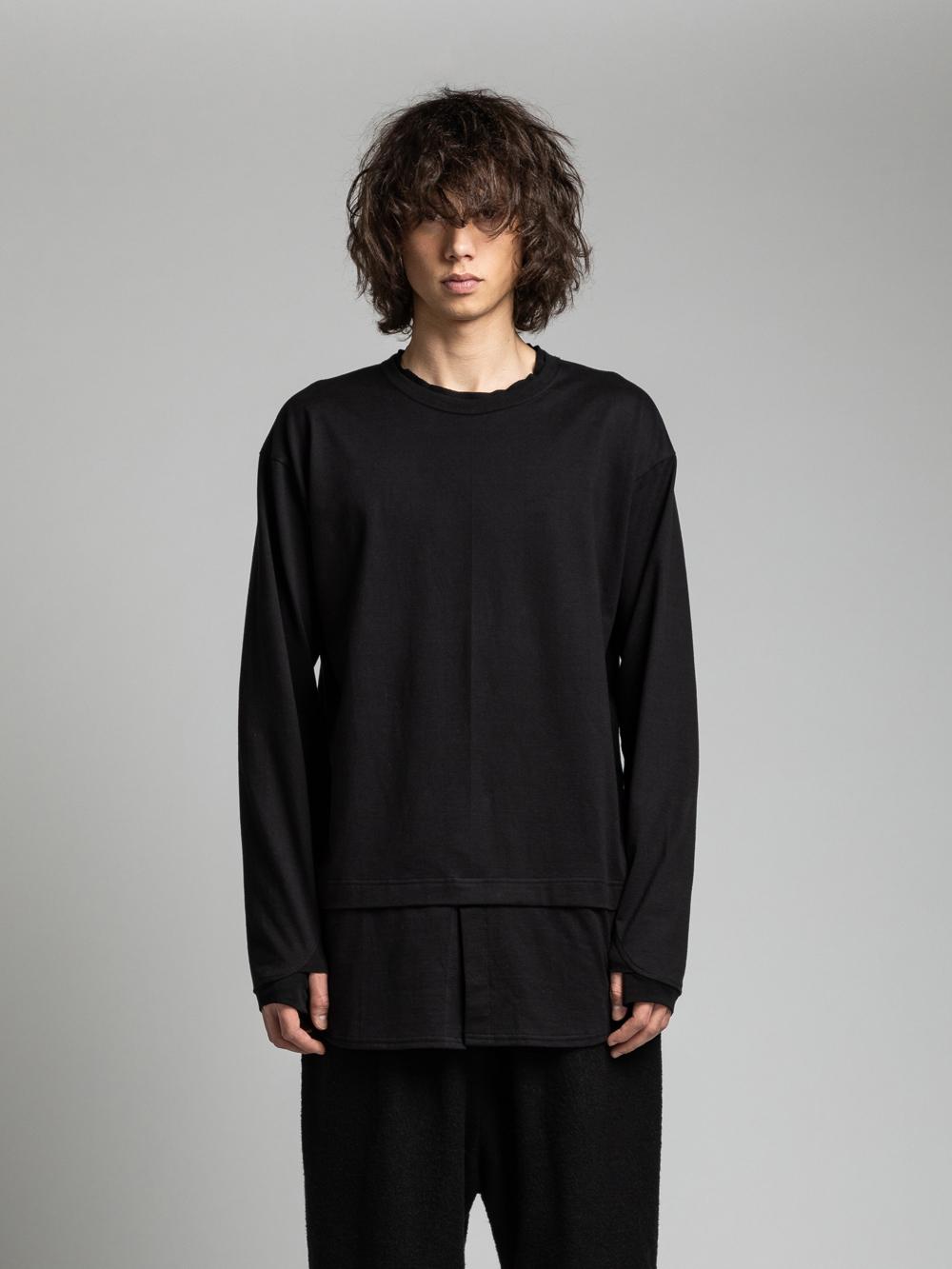 VI-3159-01 / 40/-天竺 シャツ裾 レイヤード 長袖カットソー