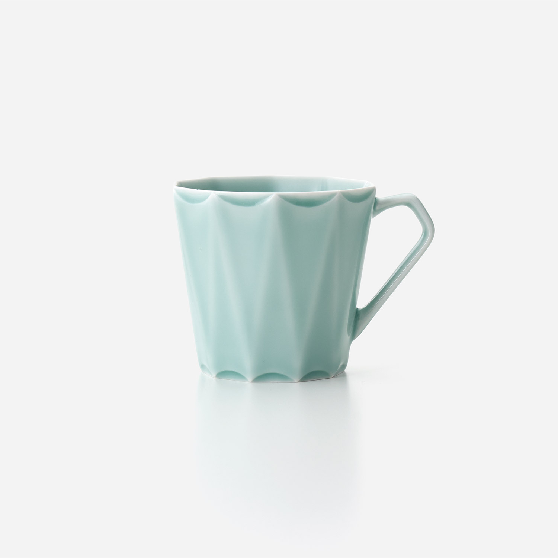 青磁 十角彫マグカップ