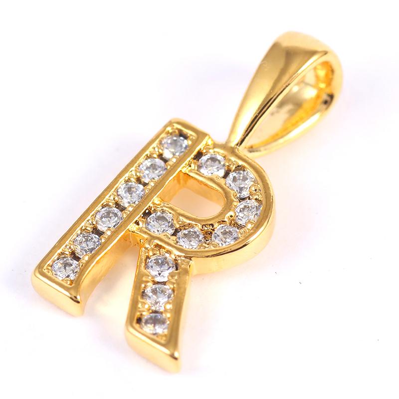 K18GP 【R】ダイヤモンドアルファベット パヴェ チャーム