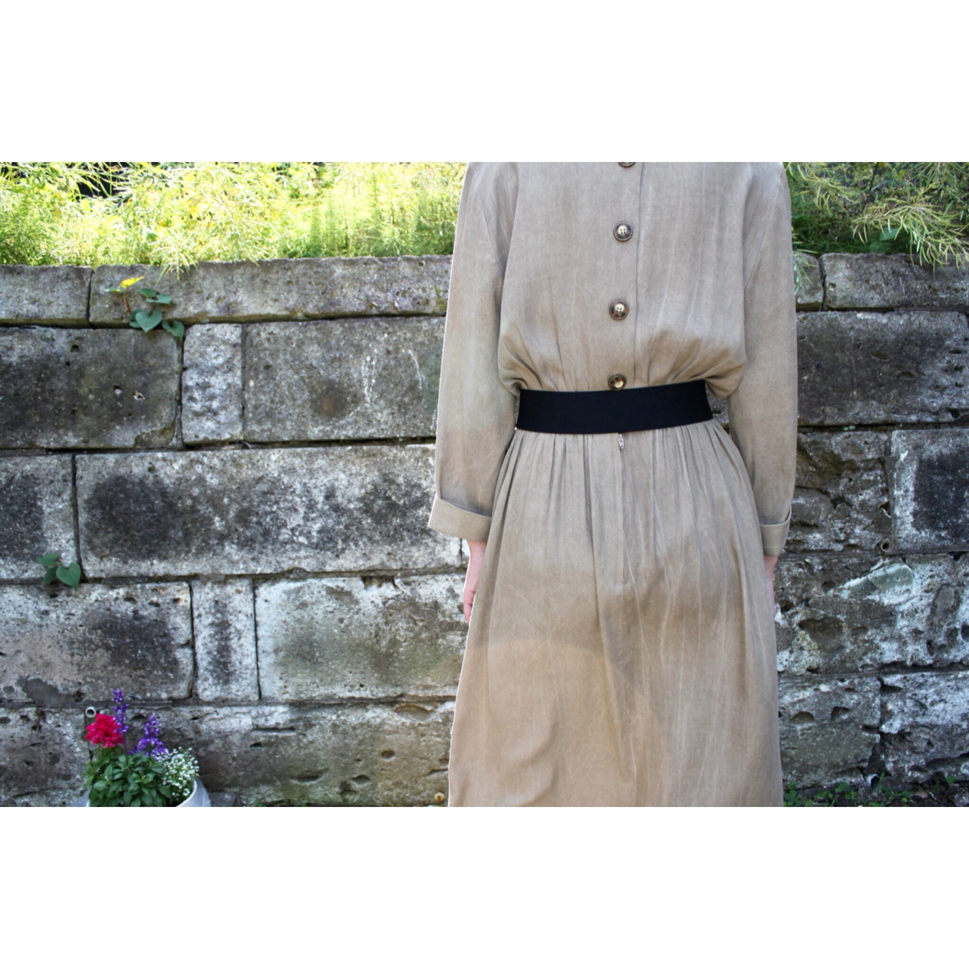 Vintage rayon peplum dress