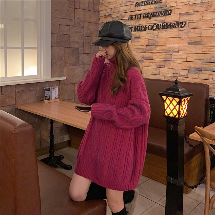 〈カフェシリーズ〉タートルネックニットワンピース【turtle neck knit one-piece】