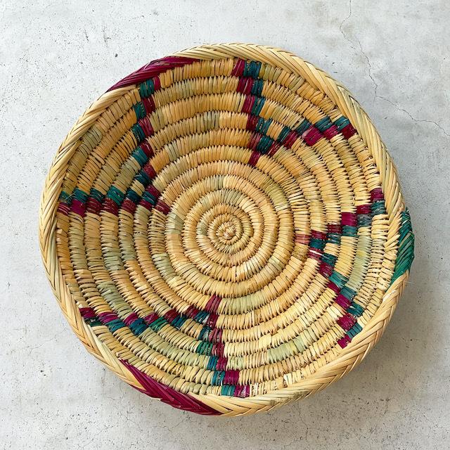 モロッコ 編み込みバスケット 皿 L (柄) φ33cm