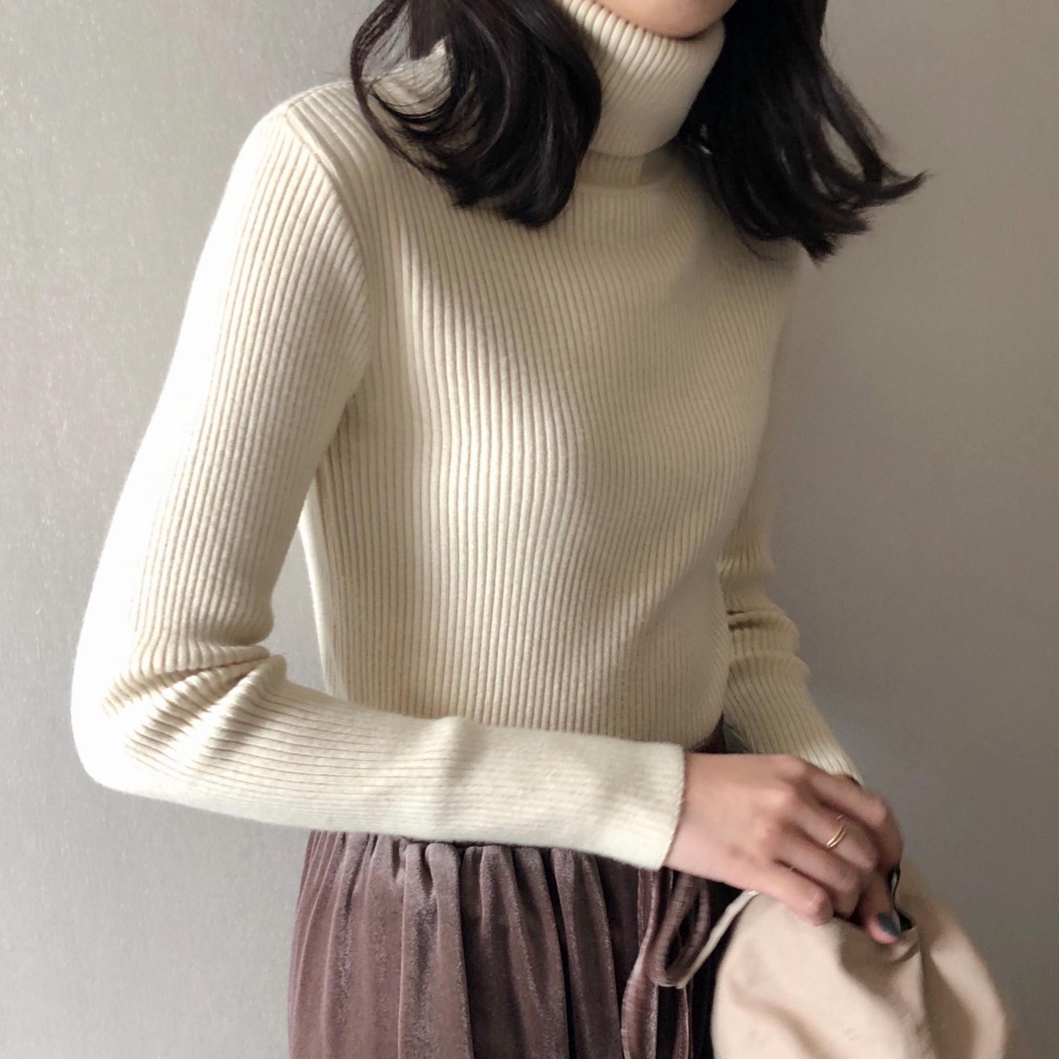 【送料無料】 5color♡ タートルネック リブ ニット カットソー ハイネック カラー豊富 セーター