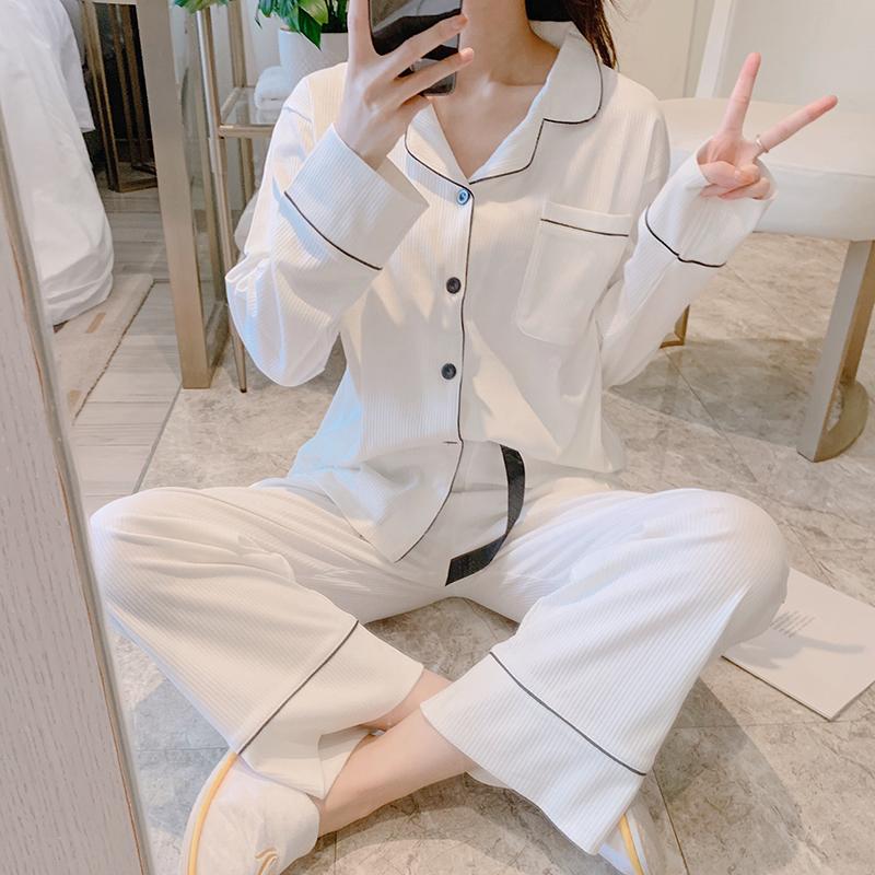 【パジャマ】シンプル無地長袖折り襟シングルブレスト上下セットパジャマ25240992