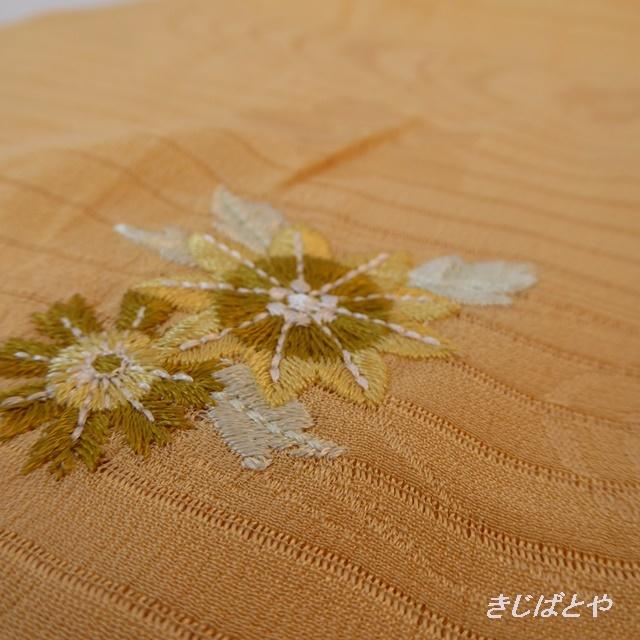 正絹絽 オレンジベージュに刺繍の帯揚げ