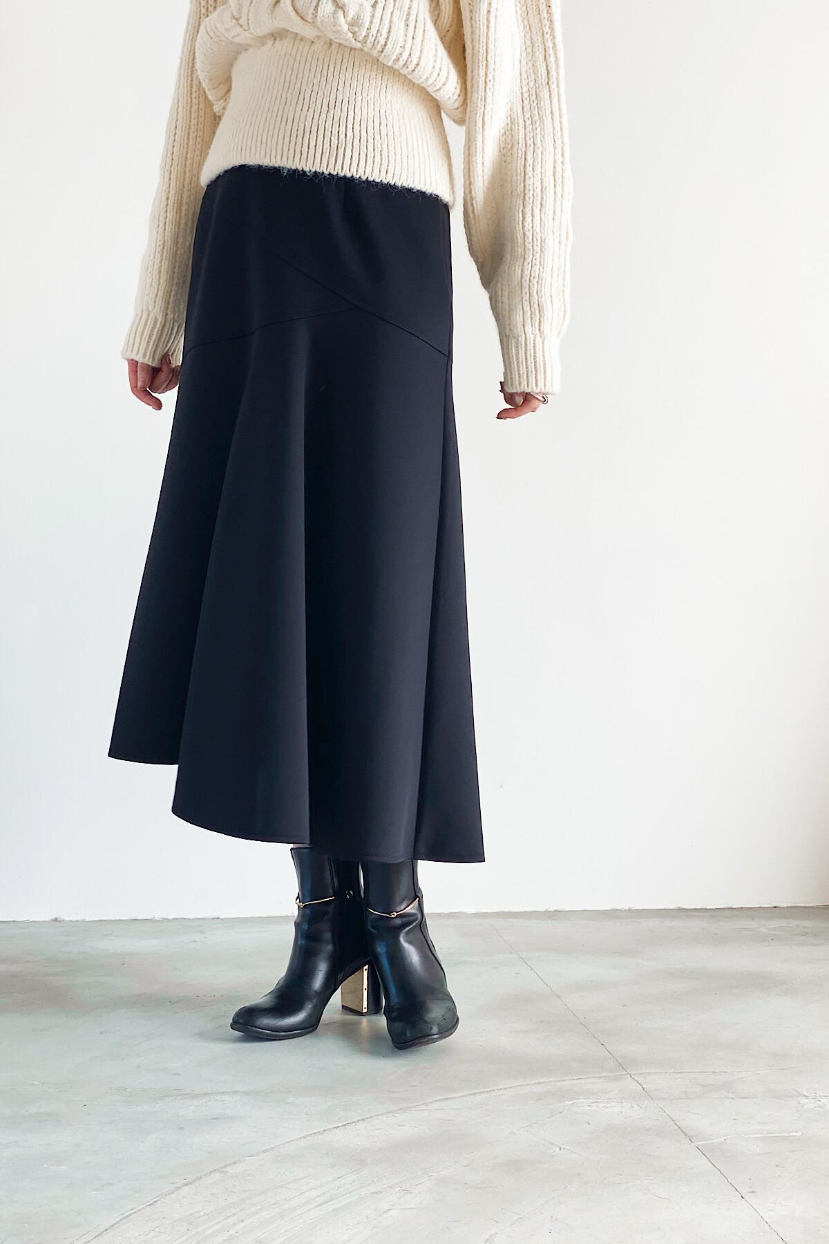 アシメフレアマーメイドスカート <ブラック>