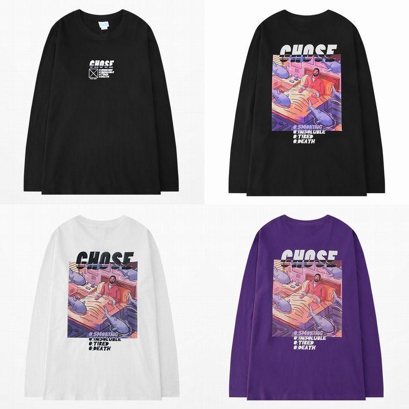 ユニセックス 長袖 Tシャツ メンズ レディース バックプリント ラウンドネック オーバーサイズ 大きいサイズ ストリート