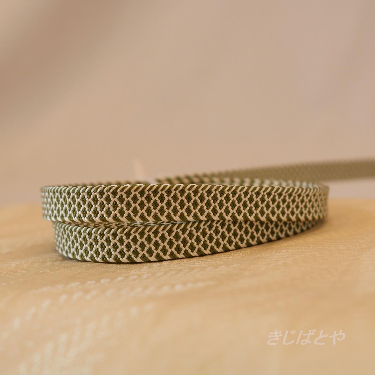正絹 抹茶色の鱗の三分紐