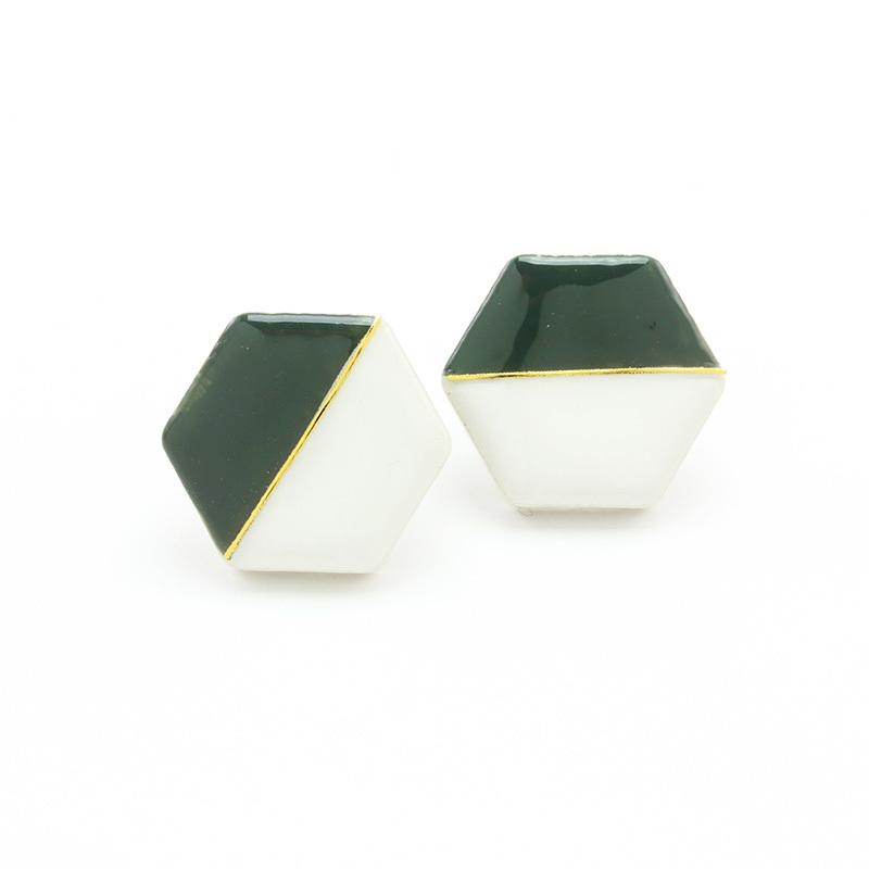 伝統工芸品 美濃焼 六角形 ホワイト×カーキ モダンシリーズ イヤリング&ピアス
