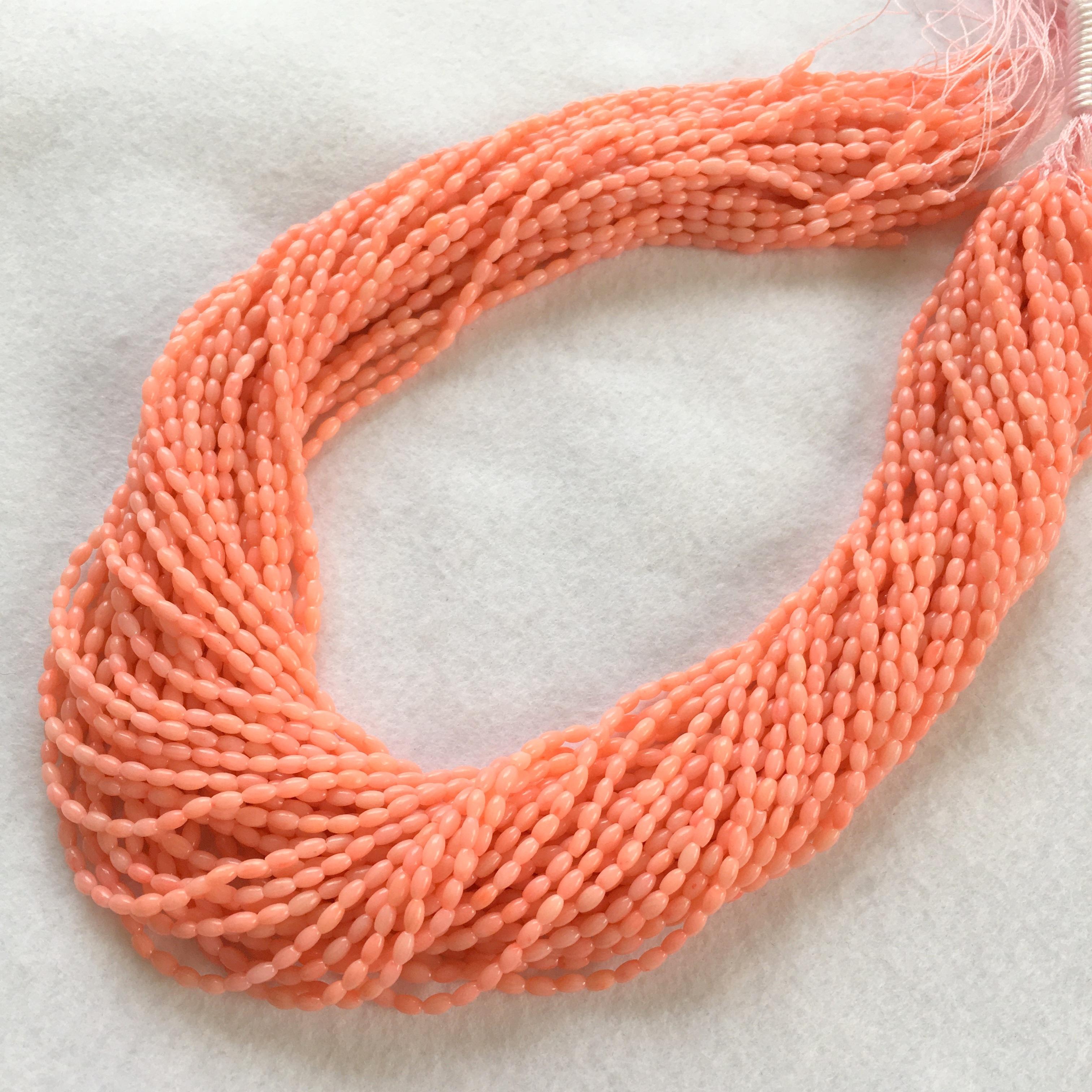 ピンク染サンゴ  ライス型約4x2㎜ 連材【193230】