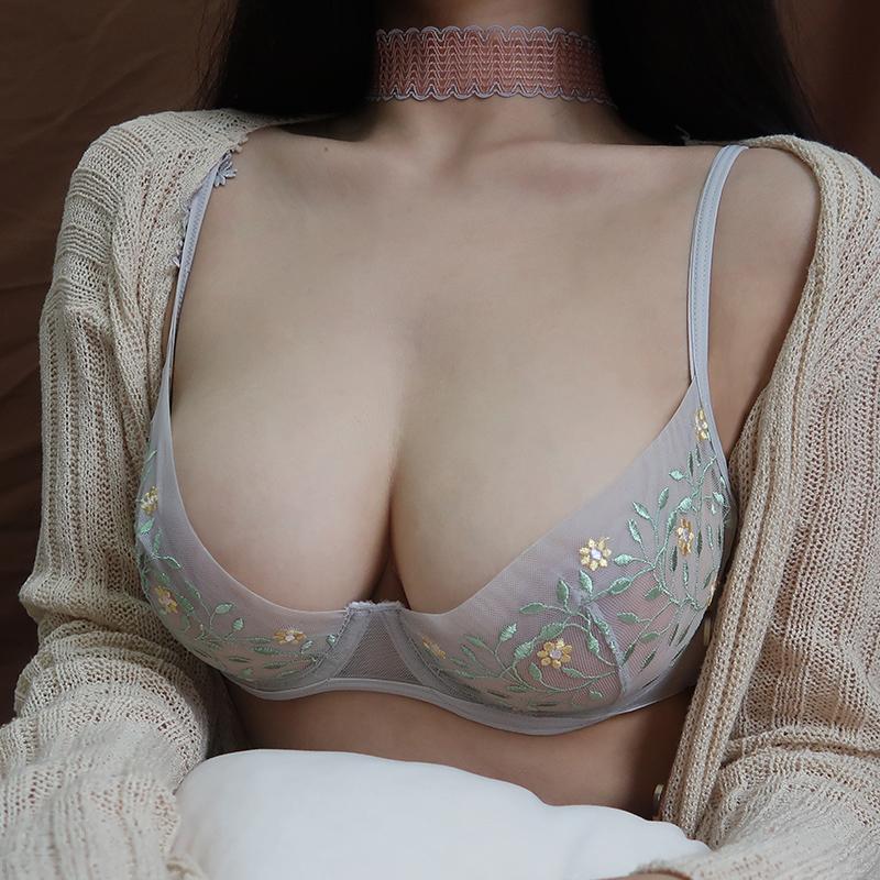 (A-Dカップ)【下着セット】セクシーレース刺繍ファッション透かし彫りブラ&ショーツセット30581468