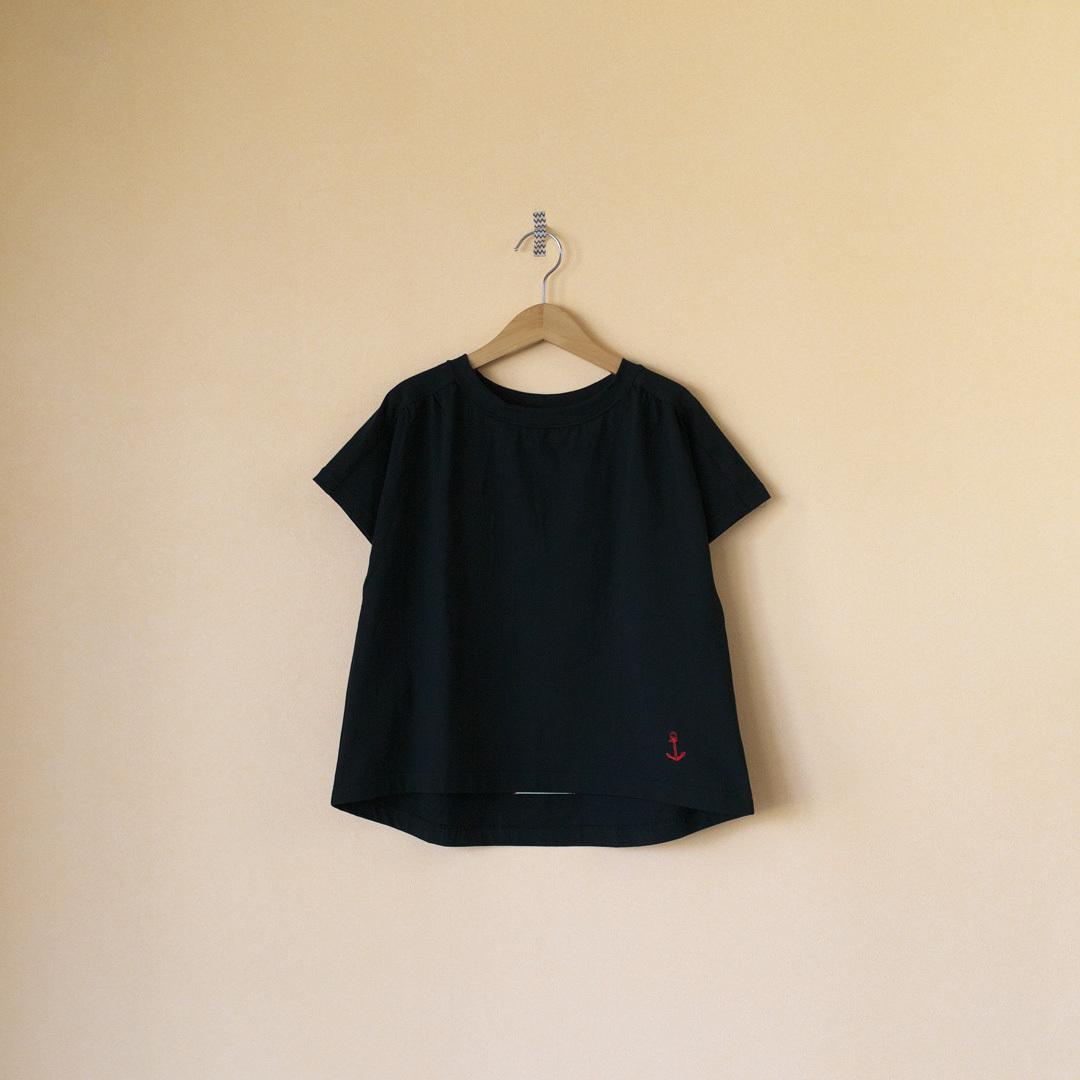 快晴堂 カイセイドウ Girl's天竺 半袖ギャザーTシャツ・ブラック