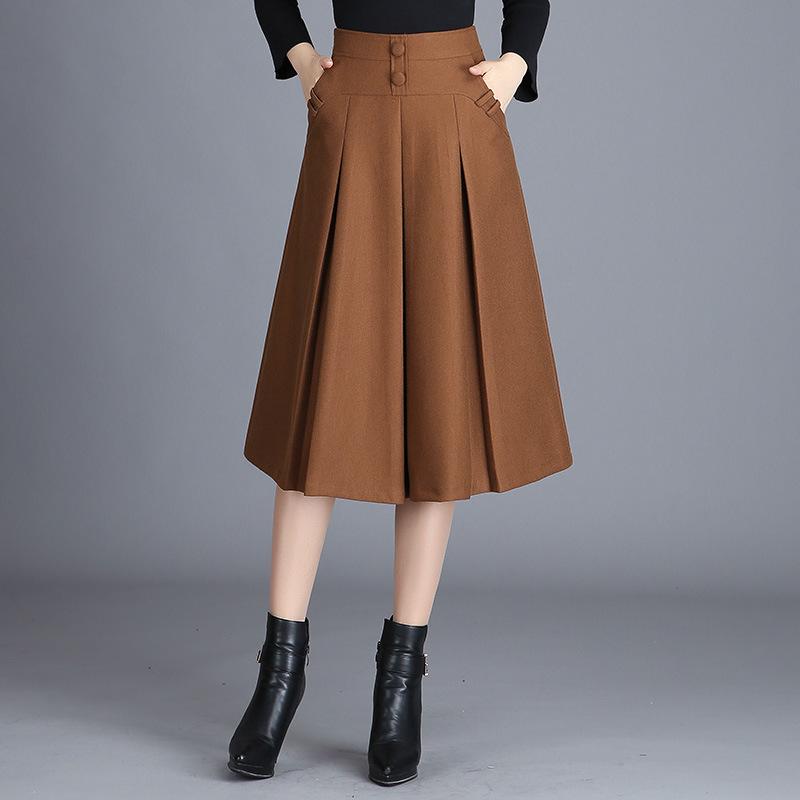 【ボトムス】シンプル秋冬無地ハイウエストギャザー飾りAラインスカート14977672
