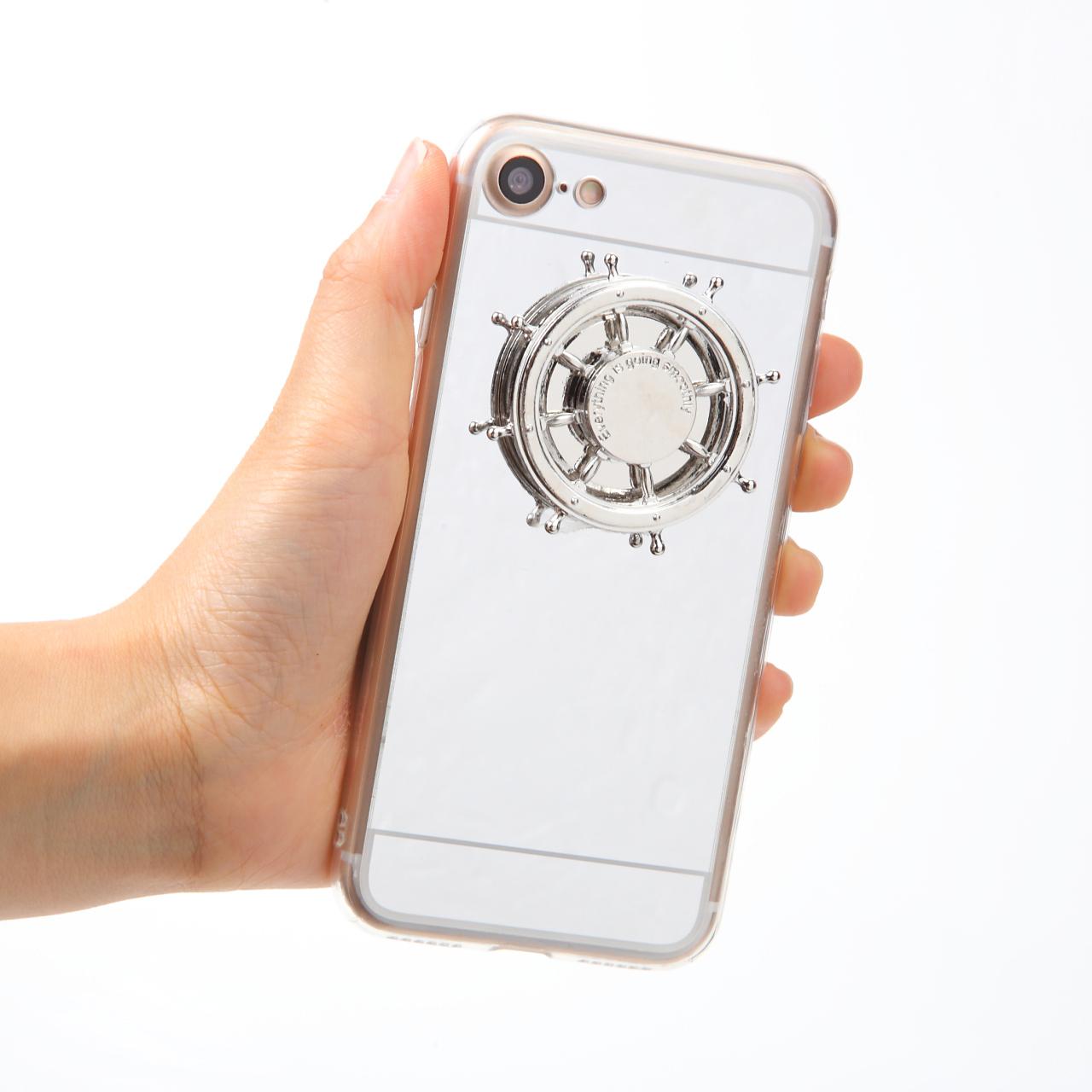 【即納★送料無料】シルバーミラーのケース 舵輪 船のハンドル iPhoneケース