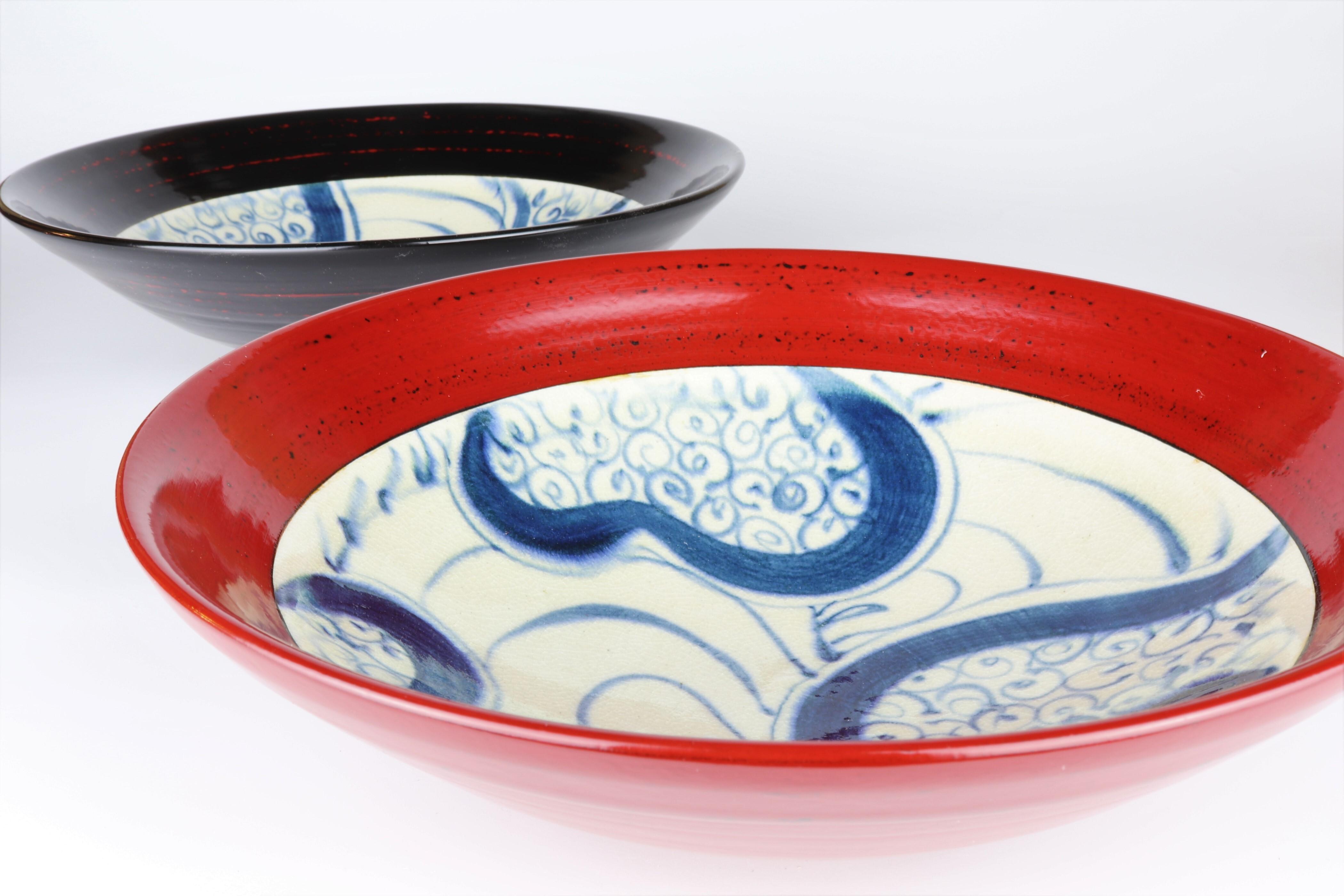 漆陶 リム平型盛鉢 渦紋 | 宗山窯
