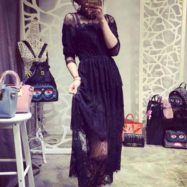 三段切替レースドレス ◆ ブラック