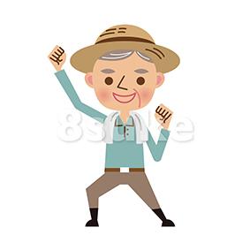 イラスト素材:ガッツポーズをする年配の農夫(ベクター・JPG)